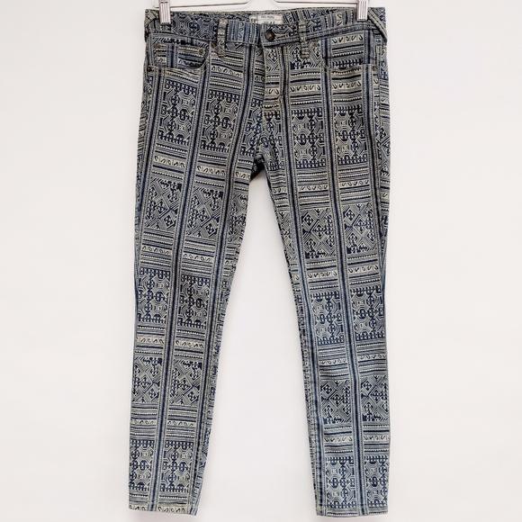 Free People Denim - free people | blue rotary tribal geo skinny jeans